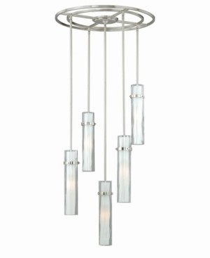 Vaxcel Vilo Satin Nickel 5 Light Contemporary Frosted Opal Mini Pendant Light