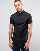 Armani Jeans Short Sleeve Logo Shirt Slim Fit Stretch In Black