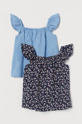 H&M 2-pack Flutter-sleeved Blouses - Blue