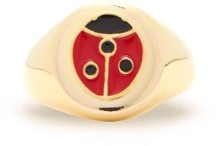 Wilhelmina Garcia - Ladybird Enamel & 18kt Gold-plated Signet Ring - Red Gold