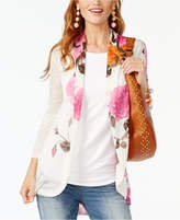 INC International Concepts Petite Floral-Print High-Low Cardigan, Only at Macy's