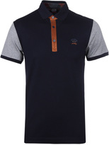 Paul & Shark Navy Suede Detail Short Sleeve Polo Shirt