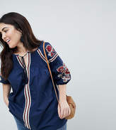 Koko Embroidered Tie Front Detail Blouse