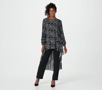 Truth + Style Regular Printed Woven Crepe Hi-Low Hem Tunic
