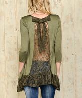 Celeste Olive Lace-Panel Ruffle-Hem Tunic