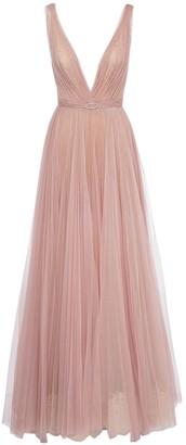 Yolancris V Neck Tulle Long Dress