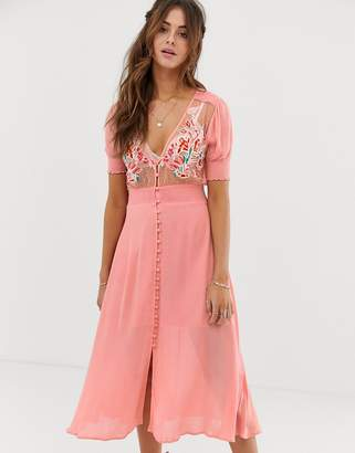 Cleobella Adley embroidered midi dress with button down front-Pink