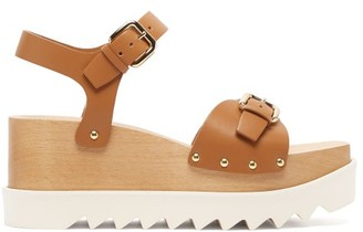 Stella McCartney Elyse Faux-leather Wood-platform Sandals - Tan