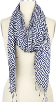 Big Buddha Navy & White Greek Key Scarf