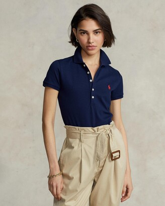 Polo Ralph Lauren Women's Blue Short Sleeve Tops - Slim Fit Stretch Polo Shirt - Size L at The Iconic