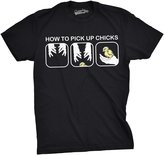 Crazy Dog T-shirts Crazy Dog Thirt Men How To Pick Up Chick Realitic Baby Bird Funny Eater Flirting Thirt
