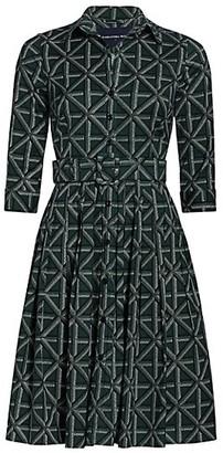 Samantha Sung Audrey 2 Check-Print Three-Quarter Sleeve Midi Shirtdress