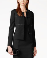Kasper Braided Open-Front Blazer