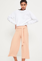 Missguided Ribbed Tie Waist Culottes Nude