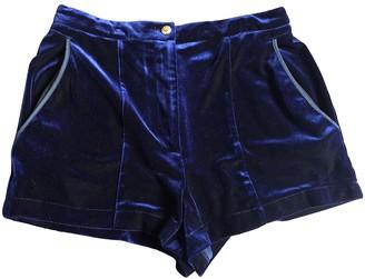 Topshop Tophop Blue Velvet Trousers for Women