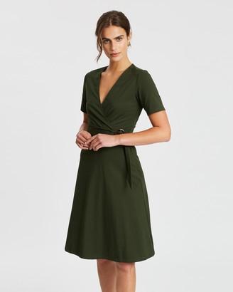 Spurr Wrap Front Buckle Dress