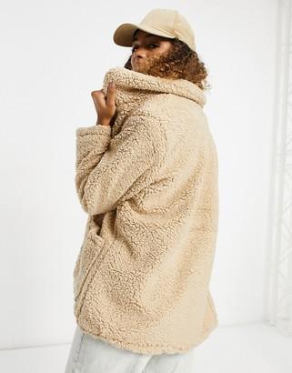 Brave Soul heavenly teddy jacket in cream