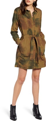 AG Jeans Justine Watercolor Camo Long Sleeve Cotton Shirtdress