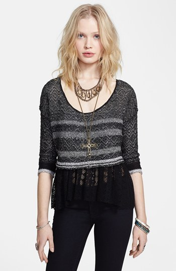 Free People 'Take Charge' Mixed Media Pullover