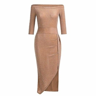 IWEMEK Women Glitter Off Shoulder Dress Ruched Thigh Slit Metallic Sheath Dresses 3/4 Sleeve Ladies Evening Cocktail Party Bodycon Gown Sparkle Shiny Midi Pencil Dress with Side High Slit Brown M
