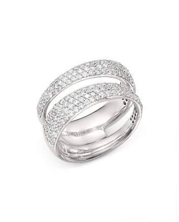 Roberto Coin 18K White Gold Scalare Double Pavé Diamond Ring