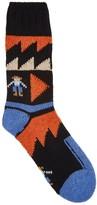 Folk Black Intarsia Wool Blend Socks