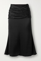 Thumbnail for your product : Orseund Iris Romantique Ruched Satin Skirt - Black