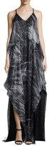 Halston Sleeveless V-Neck Print Chiffon Gown, Black Reflections