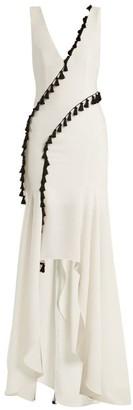 Galvan Cuzco Tassel-embellished V-neck Gown - White