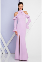 Terani Couture 1722E4227 Long Sleeves Cutaway Evening Gown