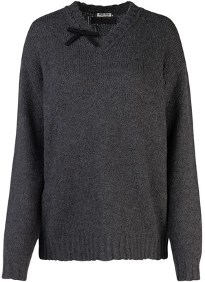 Miu Miu V Neck Bow Knitted Sweater