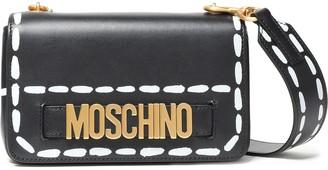Moschino Embellished Painted Leather Shoulder Bag