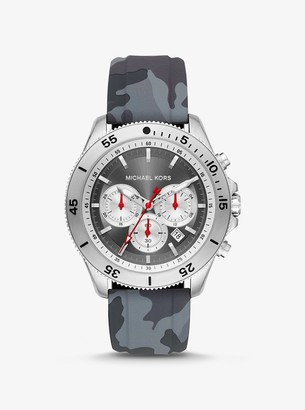 Michael Kors Oversized Cortlandt Silver-Tone and Camo Silicone Watch