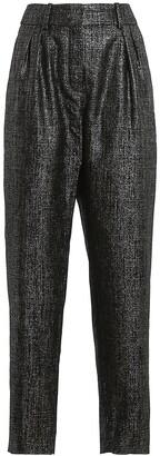 Balmain Metallic High-Waisted Pants