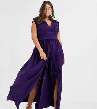 Asos DESIGN Curve premium lace insert pleated maxi dress
