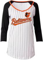 5th & Ocean Women's Baltimore Orioles Pinstripe Glitter Raglan T-Shirt