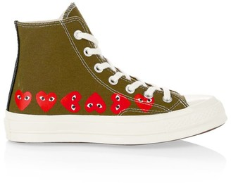 Comme des Garcons Multi Heart High-Top Canvas Sneakers