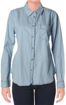 Sanctuary Womens Chambray Tailored Button-Down Top Blue L