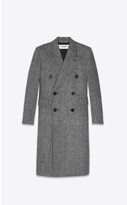 Saint Laurent Double-Breasted Long Coat In Herringbone Wool
