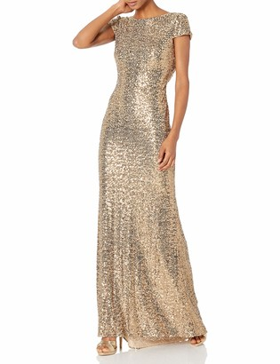 Badgley Mischka Women's Cowl Back Sequin Classic Gown Gold 2