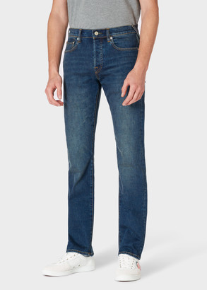 Paul Smith Men's Standard-Fit 11.8oz 'Crosshatch Stretch' Blue-Rinse Jeans