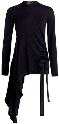 Oscar de la Renta Asymmetric Virgin Wool Sweater