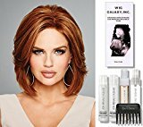 Hollywood & Divine (Human Hair) by Raquel Welch Wigs, Wig Galaxy Hairloss Booklet, Jon Renau Luxury Travel Kit, & Wide Tooth Comb. (Bundle - 7 Items), Color Chosen: R6-30H