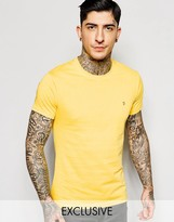 Farah T-Shirt With F Logo In Slim Fit In Yellow