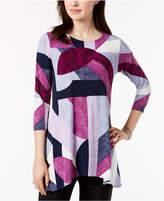Alfani Petite Printed Handkerchief-Hem Swing Top, Created for Macy's