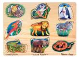 Melissa & Doug Zoo Sound Puzzle - Wooden Peg Puzzle With Sound Effects (8pc) 9pc