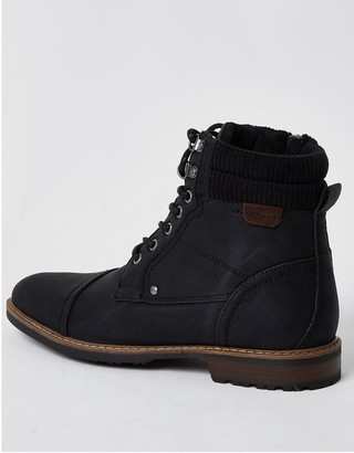 River Island Zip Lace Up Casual Boot - Black