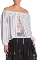 BOHO ME Crochet Panel Off-the-Shoulder Cover-Up Top