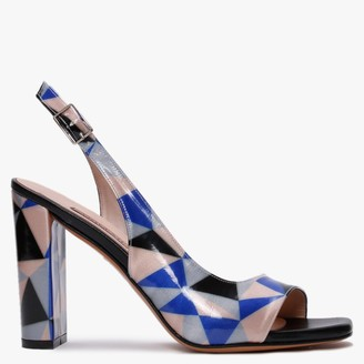 Albano Ashford Blue Patent Patterned Sandals