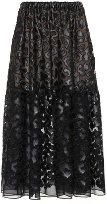 Stella McCartney Faux leather embroidered midi skirt